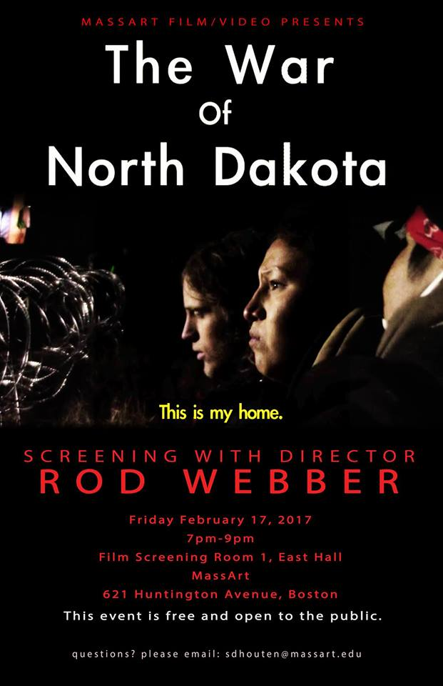 UPDATE – #NODAPL – the pipeline is being green lighted AND a documentary filmed onsite  will be at MassArt 2/17/17
