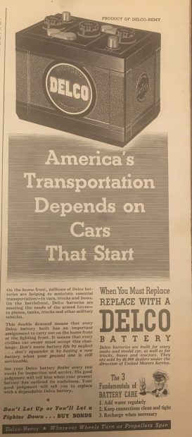 Life Magazine 10/8/44, Delco battery ad